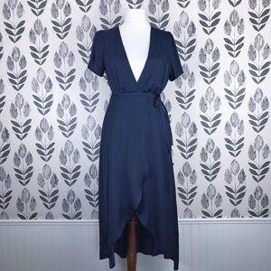 NWT Honey Punch Navy Wrap Dress - Short Sleeve